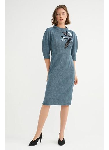 BGN Açık Mavi - Payet Detaylı Elbise Mavi